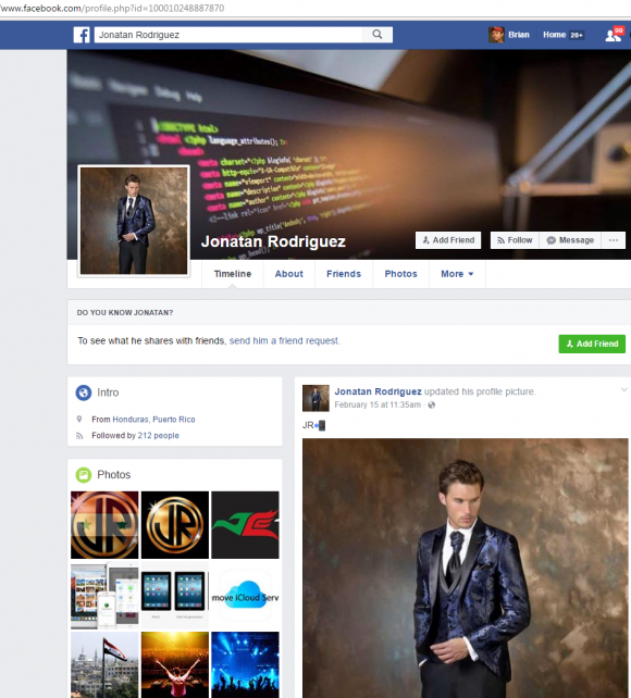 Jonatan's Facebook profile page.