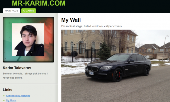 Karim Baratov, as pictured in 2014 on his own site, mr-karim.com.