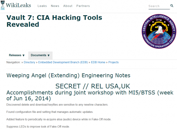 The home page for the CIA's