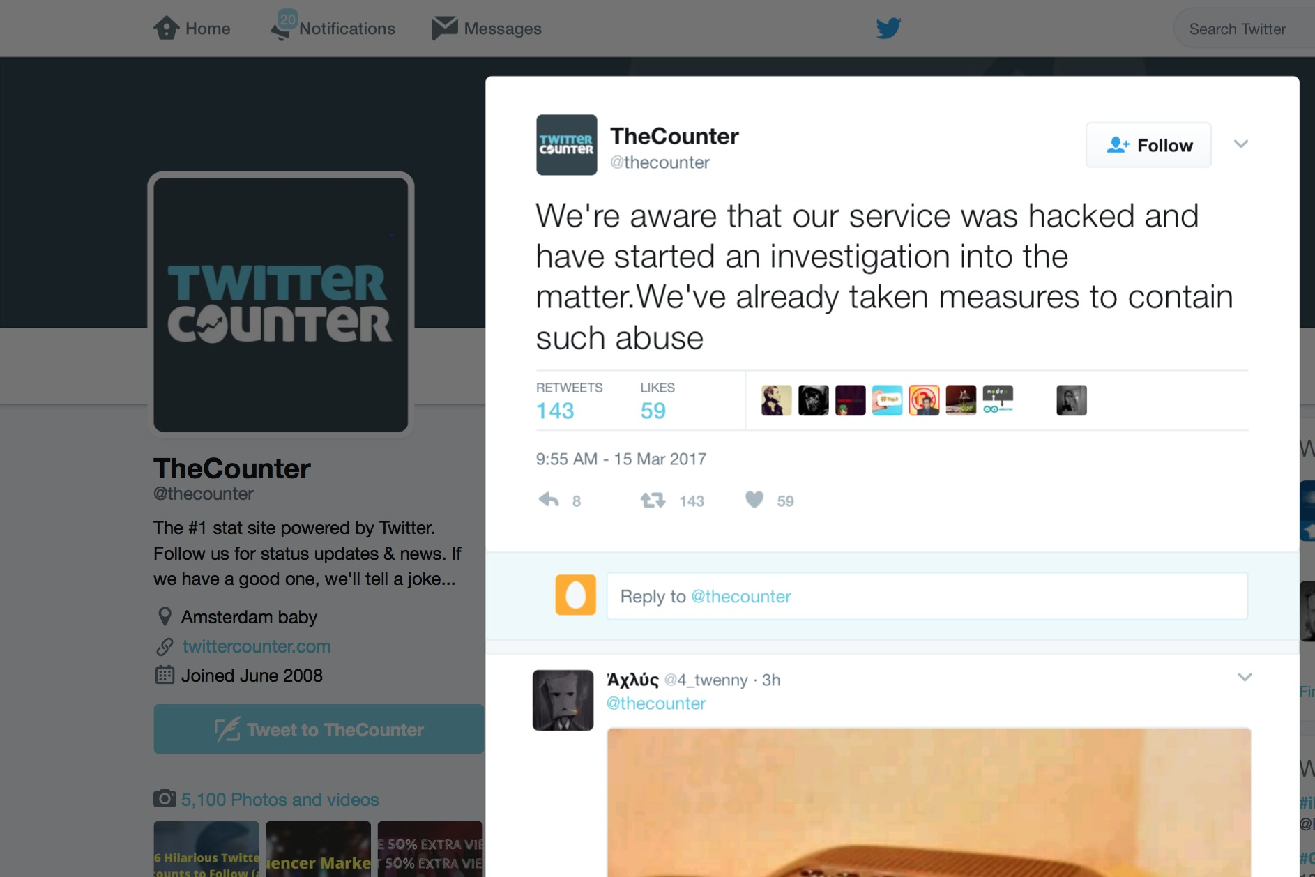 Twitter accounts hacked, Twitter Counter steps forward as culprit