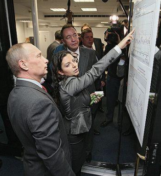 Russian President Vladimir Putin tours RT facilities. Image: DNI