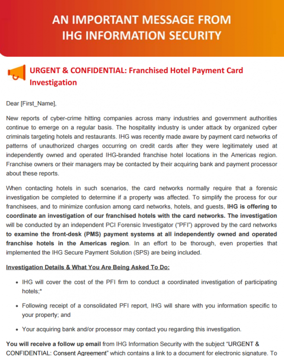 A letter from IHG to franchise customers, offering to pay for the cyber forensics examination.