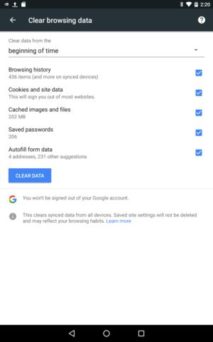 Chrome -- clear data