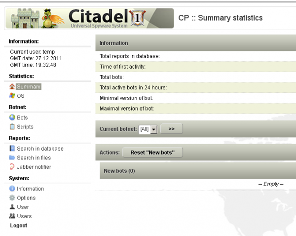 A screenshot of the Citadel botnet panel.