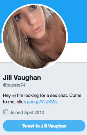 One of the 80,000+ Twitter bots ZeroFOX found that were enticing male Twitter users into viewing their profile pages.