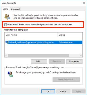 Windows login password required
