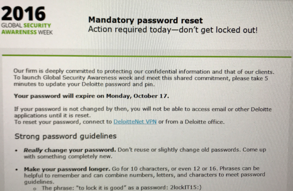 A screen shot of the mandatory password reset email Deloitte sent to all U.S. employees in Oct. 2016, around the time sources say the breach was first discovered.