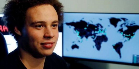 Marcus Hutchins, just after he was revealed as the security expert who stopped the WannaCry worm. Image: twitter.com/malwaretechblog