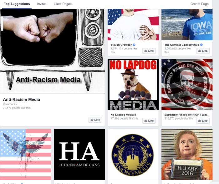 facebook conservative suggested pages