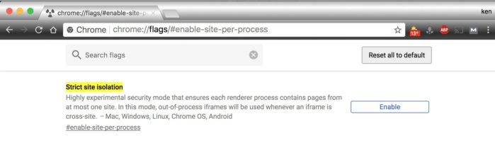 chrome flags in Chrome 63