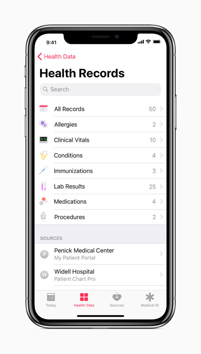 iphone x all health records screen 01232018