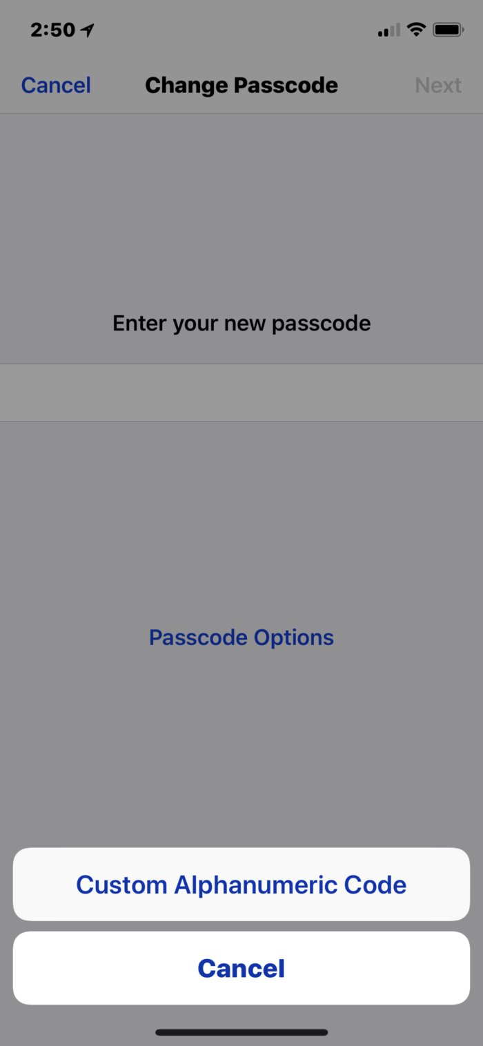 iPhone passcode security