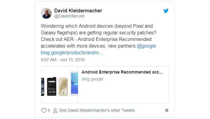 Android Security Updates Tweet