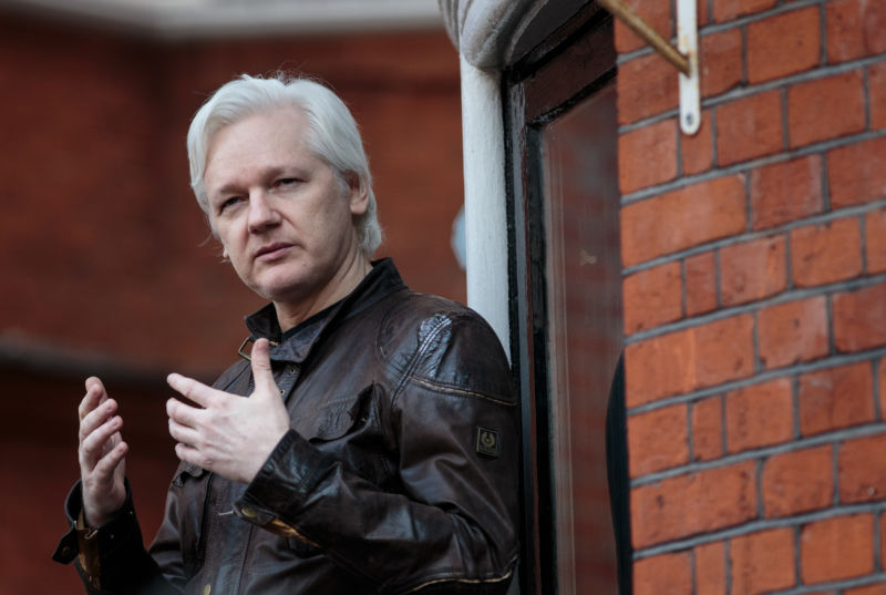 Julian Assange speaks to the media from the balcony of the Embassy Of Ecuador on May 19, 2017 in London, England.