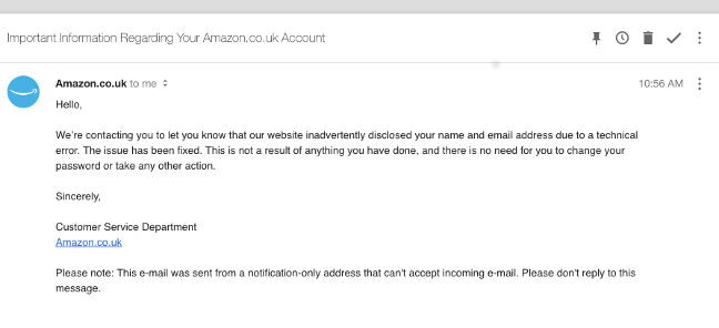 Amazon breach email, as seen by a reader