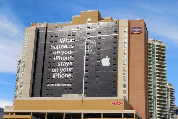 Apple's iPhone privacy billboard is a clever CES troll, but it's also inaccurate