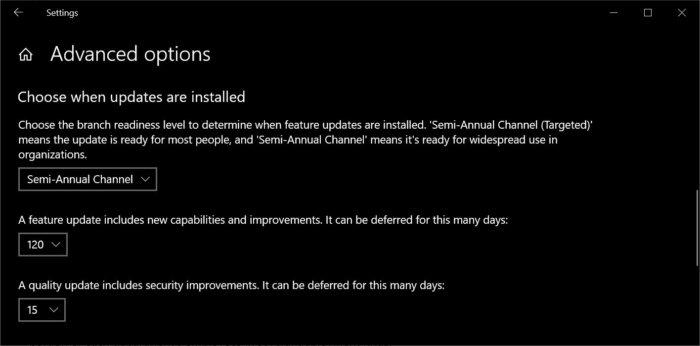 1809 advanced updates